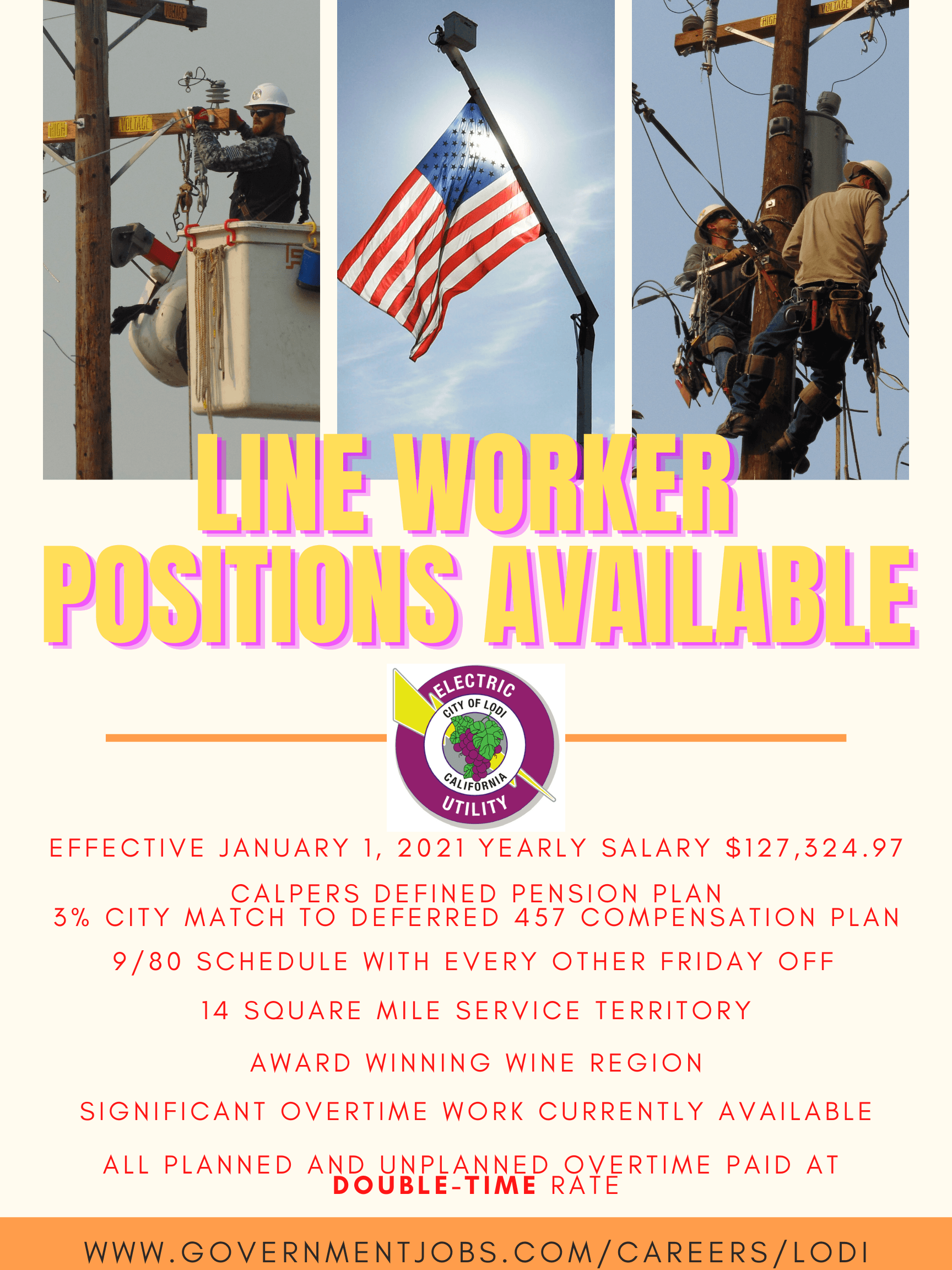 Are you a Lineman/Linewoman looking for a great place to work?  Come join Lodi Electric. We service