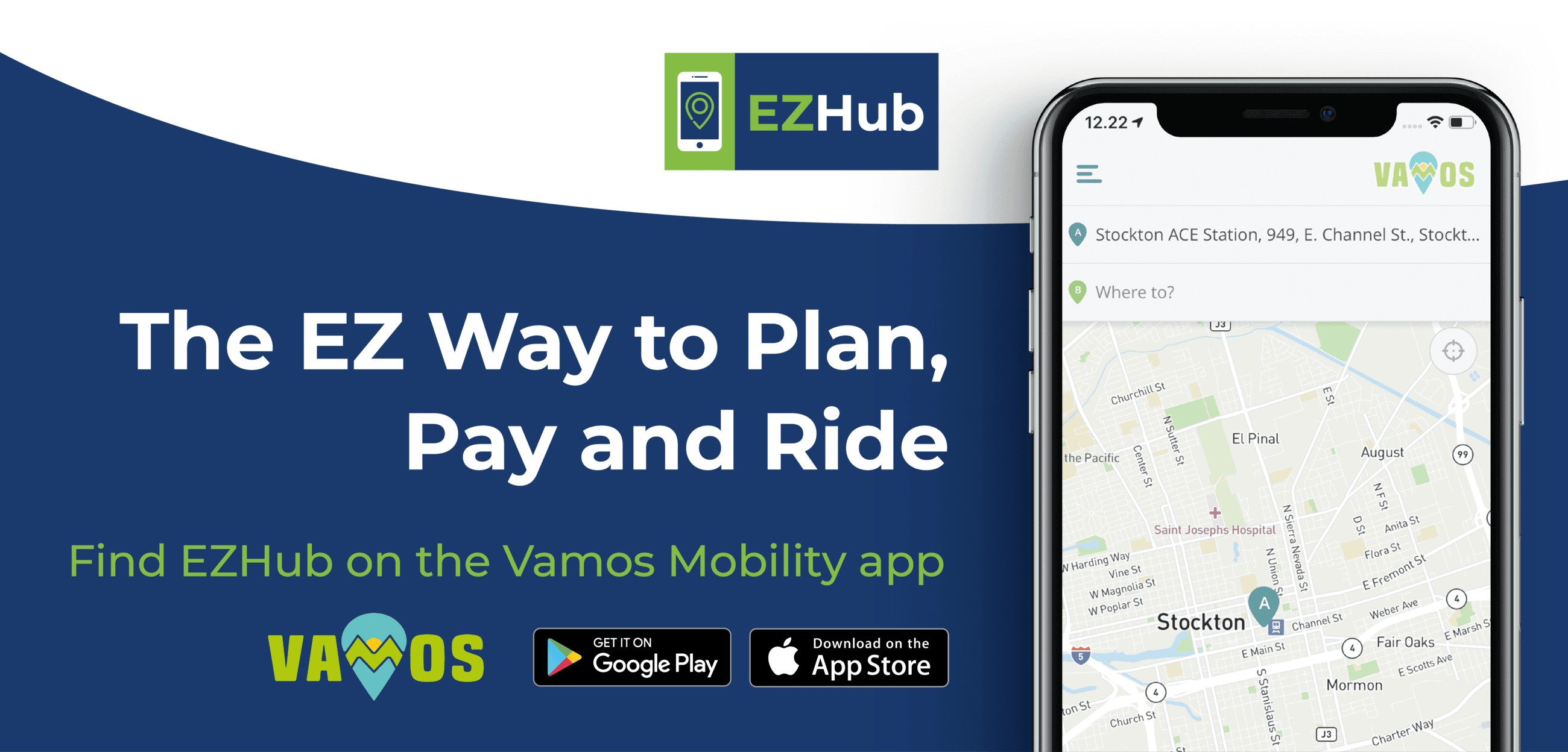 Advertisement for SJCOG's transit mobile ticketing app: EZHub via Vamos Mobility App.