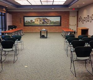 An empty meeting room at Lodi Public Library