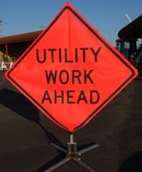 Utility Work Ahead Caution Sign