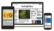 Image of The New York Times Front Page Displayed on Three Different Devices